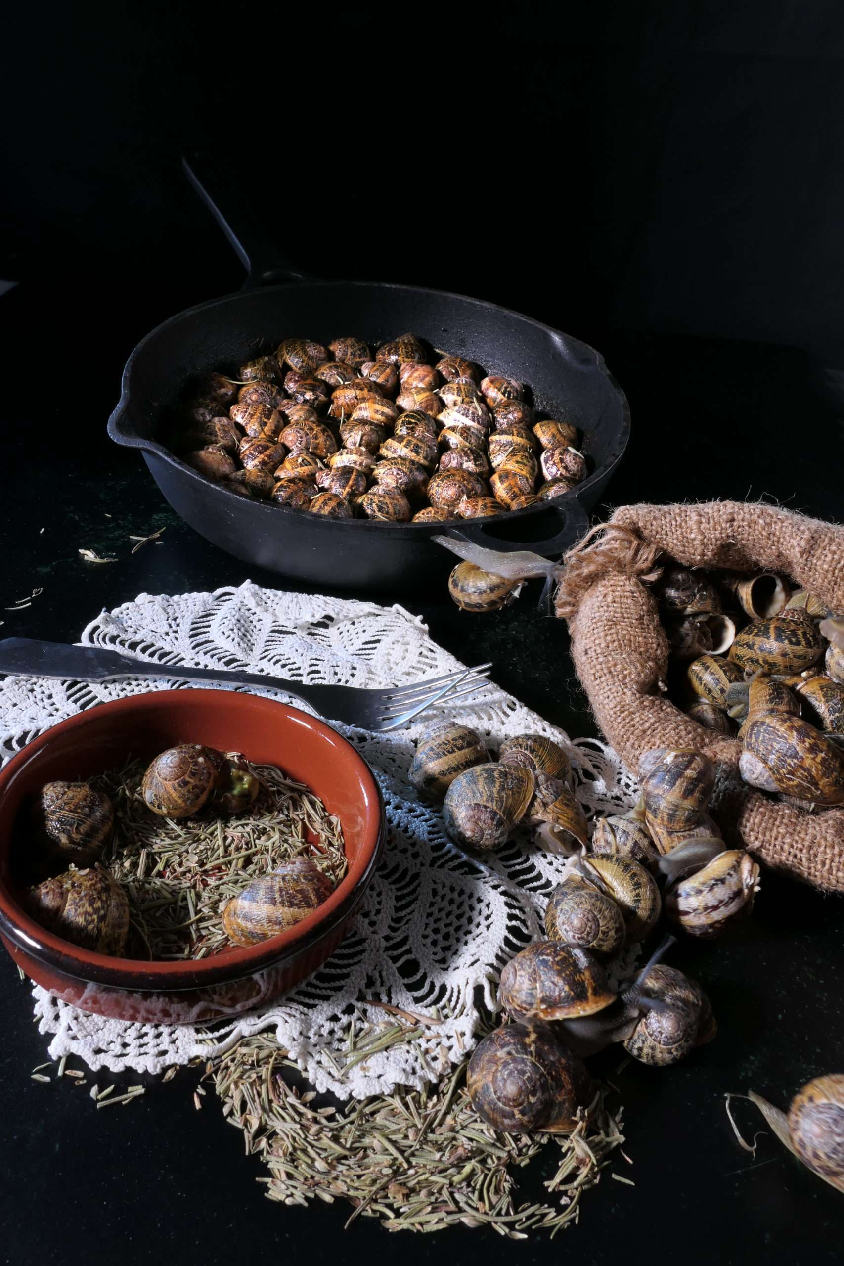 escargots dans leurs poele cuits