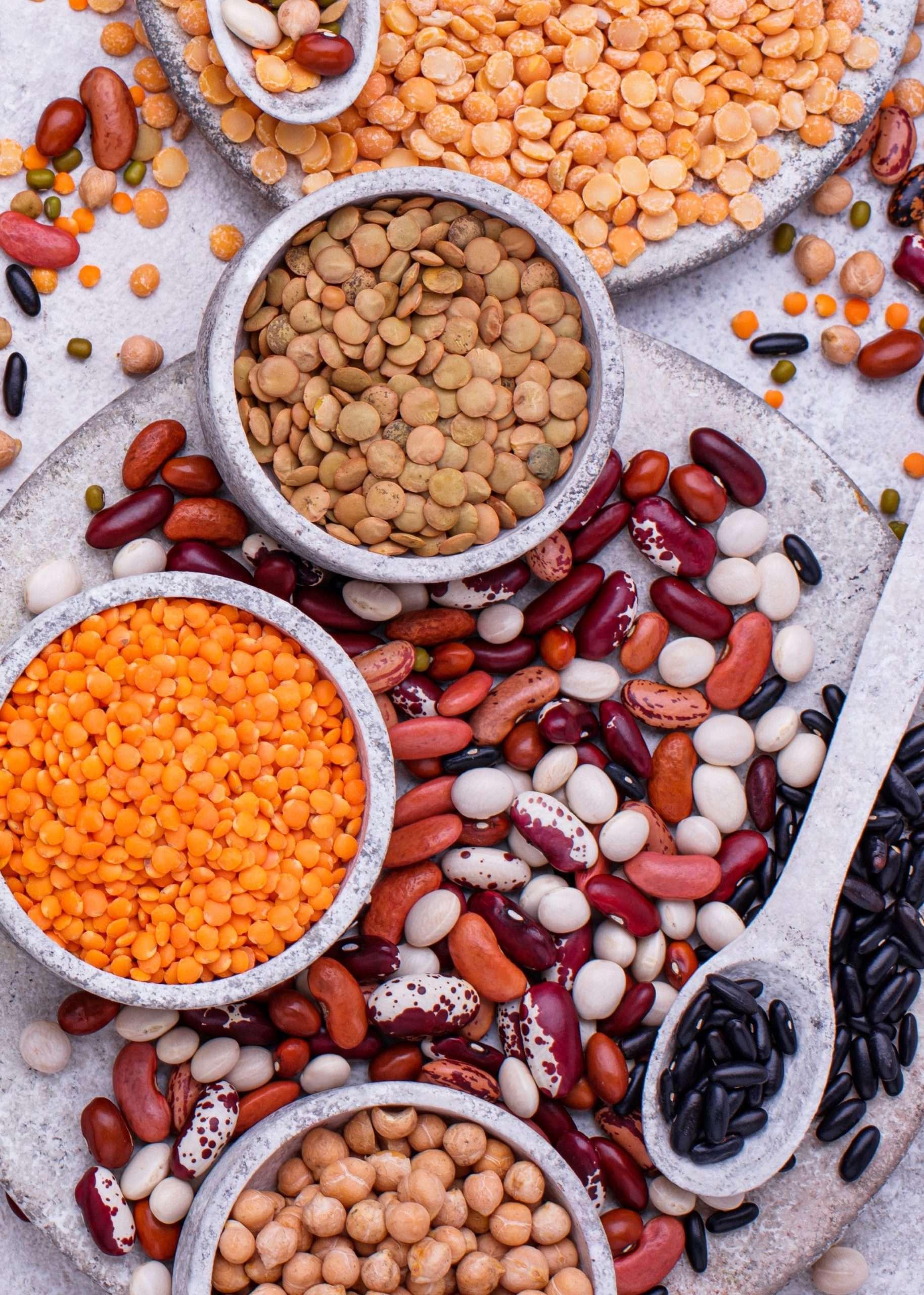 un plat avec plusieurs legumes secs comme les haricots, les pois cassés et les lentilles